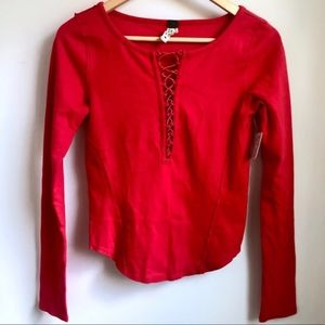Free People Tops - We the Free Jacqui red lace up long sleeve top xs